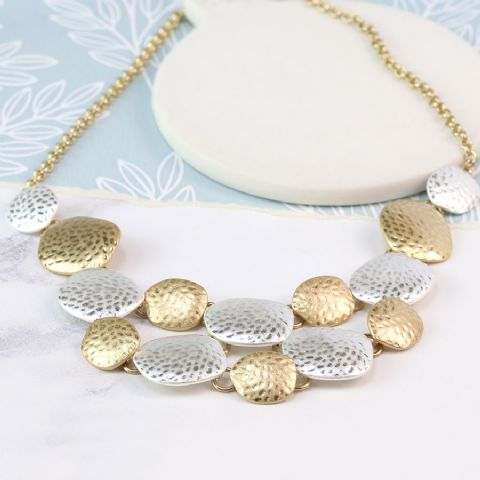 SILVER & GOLD PEBBLES NECKLACE